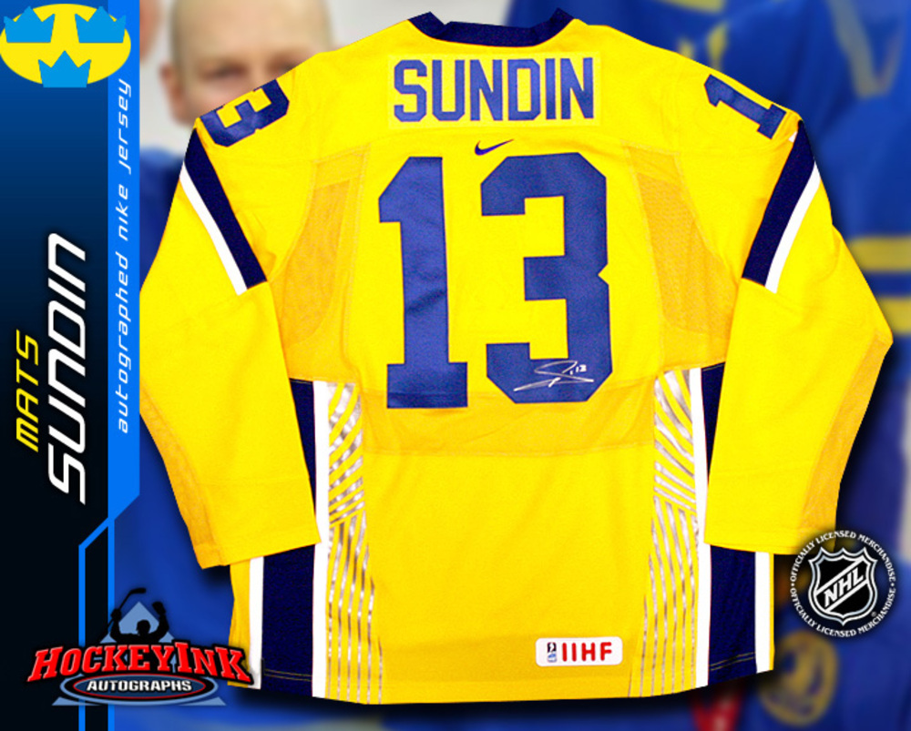 MATS SUNDIN Signed Nike Swift Yellow Sweden Jersey - Toronto Maple Leafs