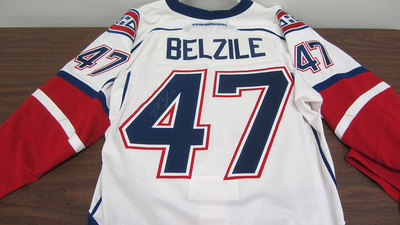 AHL WHITE GAME ISSUED ALEX BELZILE JERSEY SIGNED