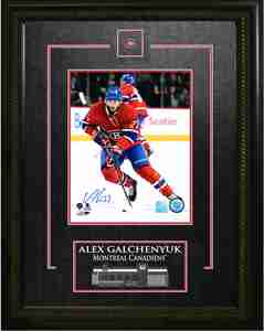 Alex Galchenyuk - Signed & Framed 8x10 Etched Mat - Montreal Canadiens Red Action