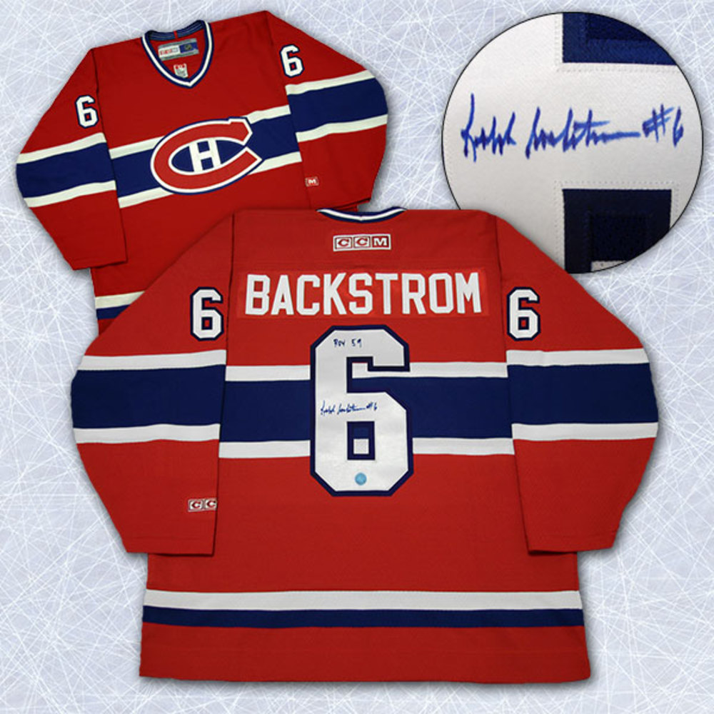 Ralph Backstrom Montreal Canadiens Autographed ROY-59 Retro CCM Hockey Jersey