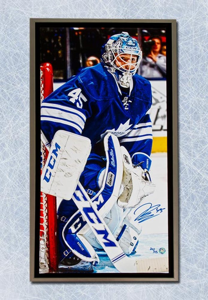 JONATHAN BERNIER Autographed Toronto Maple Leafs 14x28 Framed Art Canvas #/45