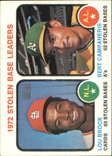 Photo of 1973 Topps #64 Stolen Base Leaders/Lou Brock/Bert Campaneris