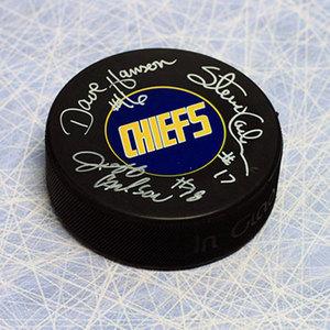 The Hanson Brothers Triple Signed Slap Shot Movie Charleston Chiefs Hockey Puck
