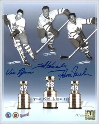 Maple Leafs KID LINE Triple SIGNED 8x10 Photo Print #/150 *Kenndey, Lynn & Meeker*