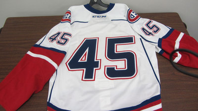 AHL WHITE GAME ISSUED NUMBER 45 JERSEY