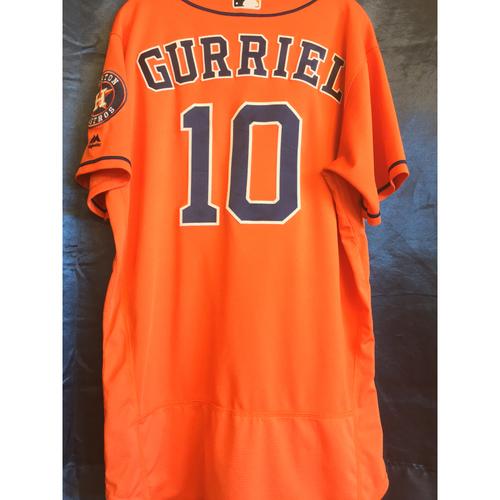Photo of Game-Used Yuli Gurriel Orange Alternate Jersey