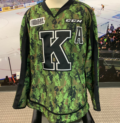 #22 Jakob Brahaney Autographed Game Issued (Worn) Kingston Frontenacs Camo Jersey