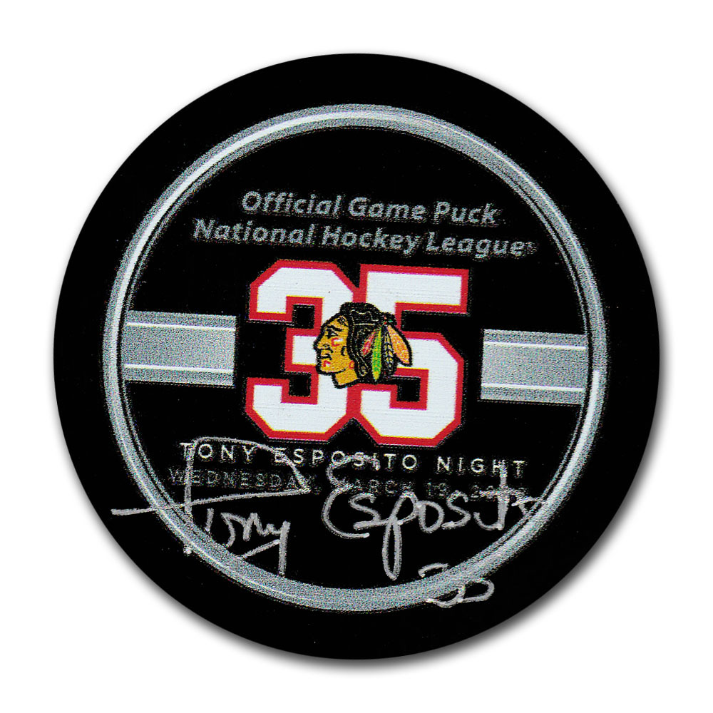 Tony Esposito Autographed Chicago Blackhawks Esposito Night Official Game Puck