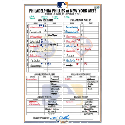 Photo of Game Used Lineup Card - Harvey Earns 12th Win 6.1 IP, 9 K's - Ruben Tejada Hits Inside the Park HR - Mets Win 9-4 - Mets vs. Phillies - 9/2/15