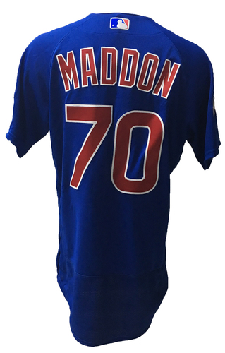 Photo of Joe Maddon Game-Used Jersey -- 2016 World Champion Season -- NLDS Game 3 -- Cubs vs Giants -- 10/10/16