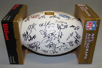 PATRIOTS - MULTI SIGNED PANEL BALL W/ PATRIOTS 3 TIME CHAMPIONS LOGO (OVER 45 SIGNATURES INCLUDING RANDY MOSS ROSEVELT COLVIN TROY BROWN MATT CASSEL BRANDON MERIWEATHER SAMMY MORRIS LOGAN MANKINS DAVID THOMAS TY WARREN)