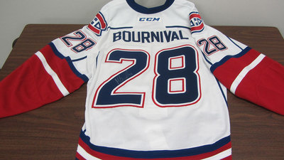 AHL WHITE GAME ISSUED MICHAEL BOURNIVAL JERSEY SIGNED