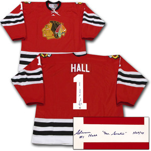 Glenn Hall Autographed Chicago Blackhawks Jersey w/HOF 75 Inscription