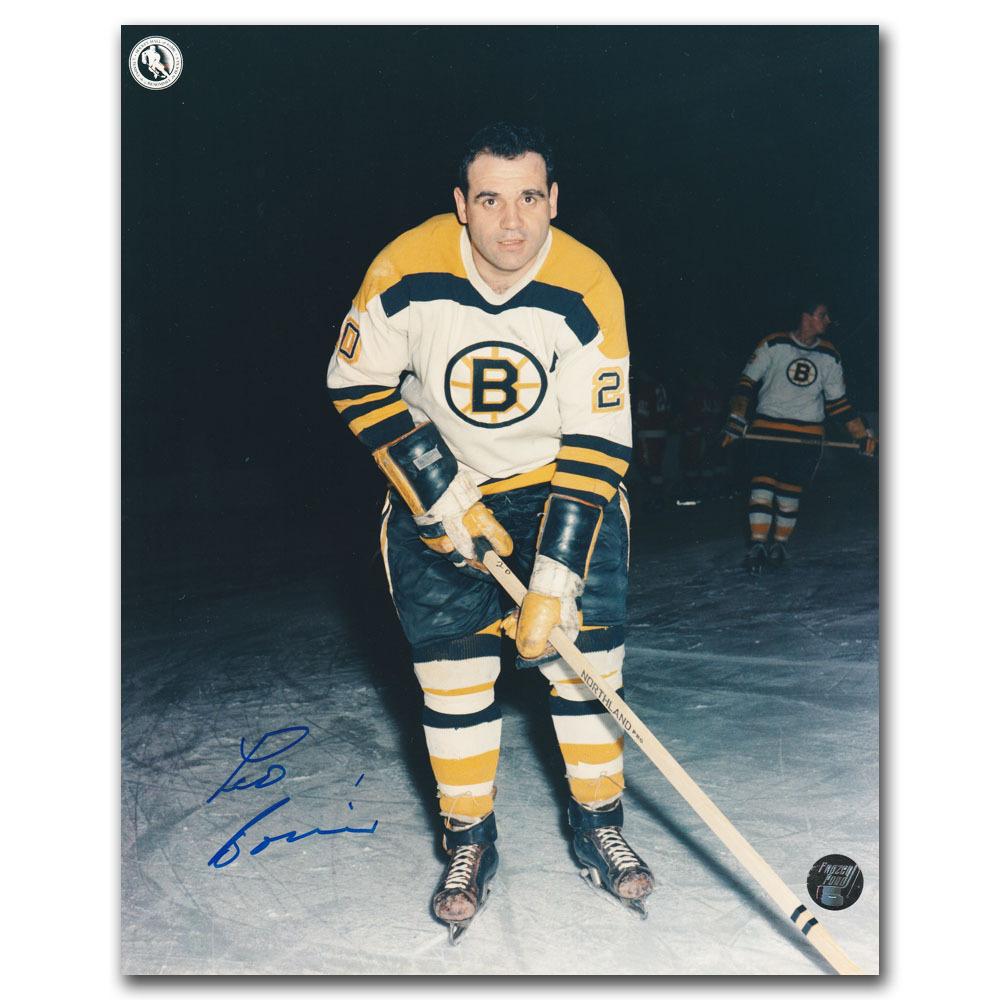 Leo Boivin Autographed Boston Bruins 8X10 Photo - Tough HOF signature
