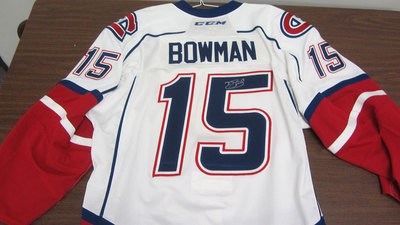AHL WHITE GAME ISSUED DRAYSON BOWMAN JERSEY SIGNED (1 OF 2)