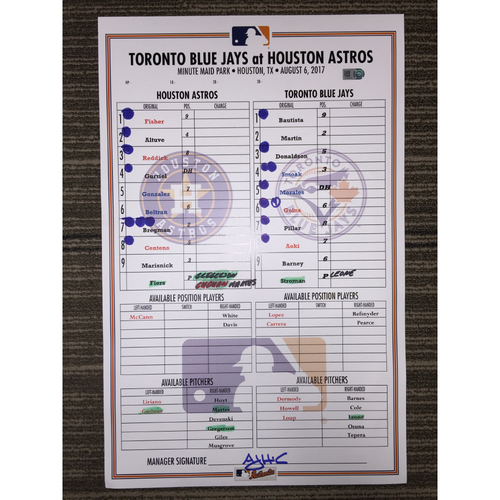 Photo of Game-Used Lineup Card: Astros vs Blue Jays (08/06/17)