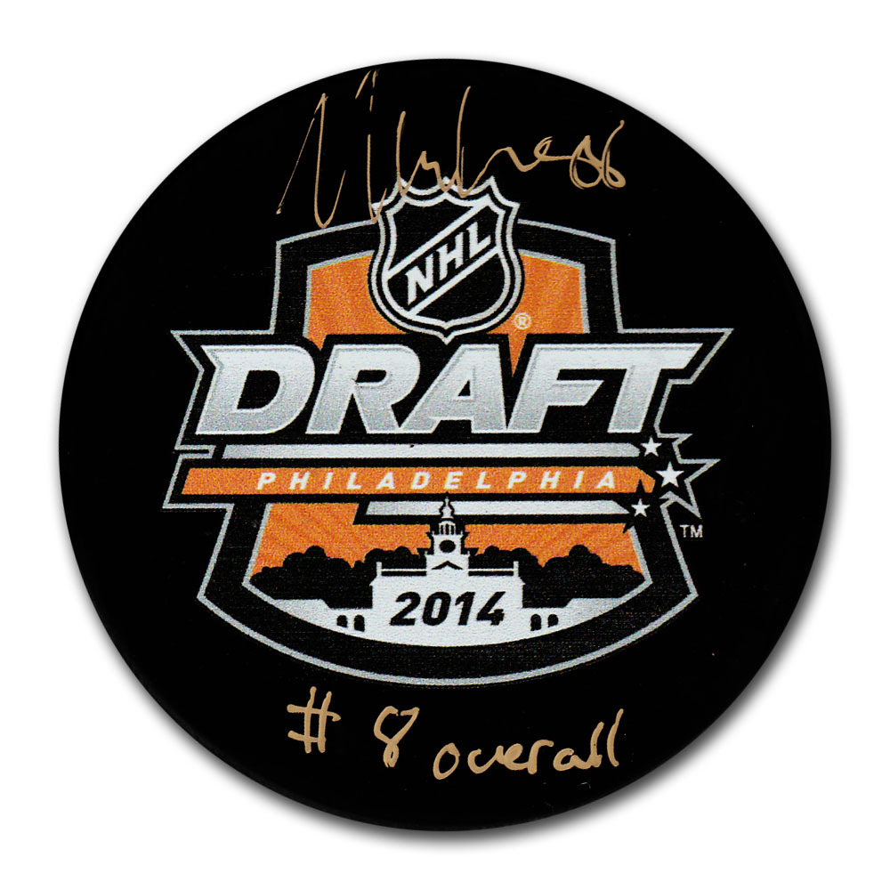William Nylander Autographed 2014 NHL Entry Draft Puck w/8TH OVERALL Inscription (Toronto Maple Leafs)