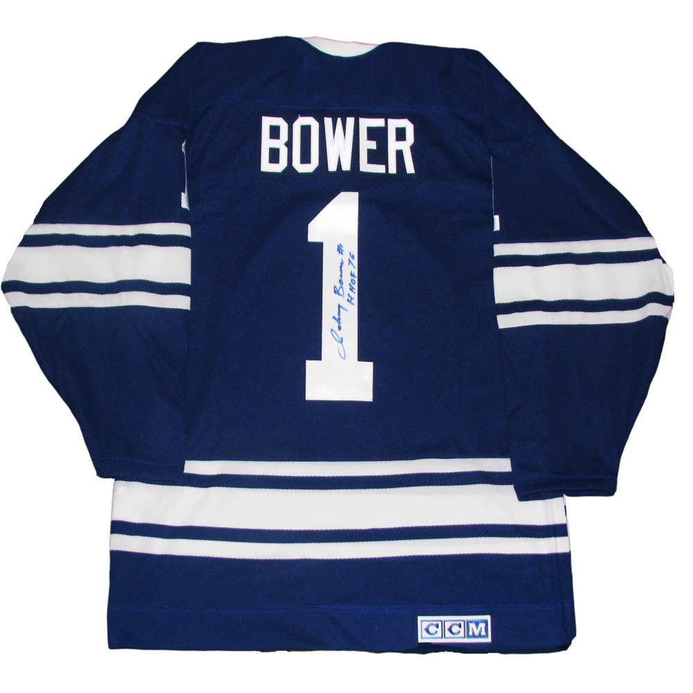 JOHNNY BOWER Signed Toronto Maple Leafs Blue CCM Vintage Jersey