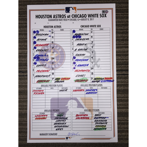 Photo of Game-Used Lineup Card: Astros at White Sox (08/08/17)