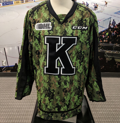 #23 Tyler Burnie Autographed Game Issued (Worn) Kingston Frontenacs Camo Jersey