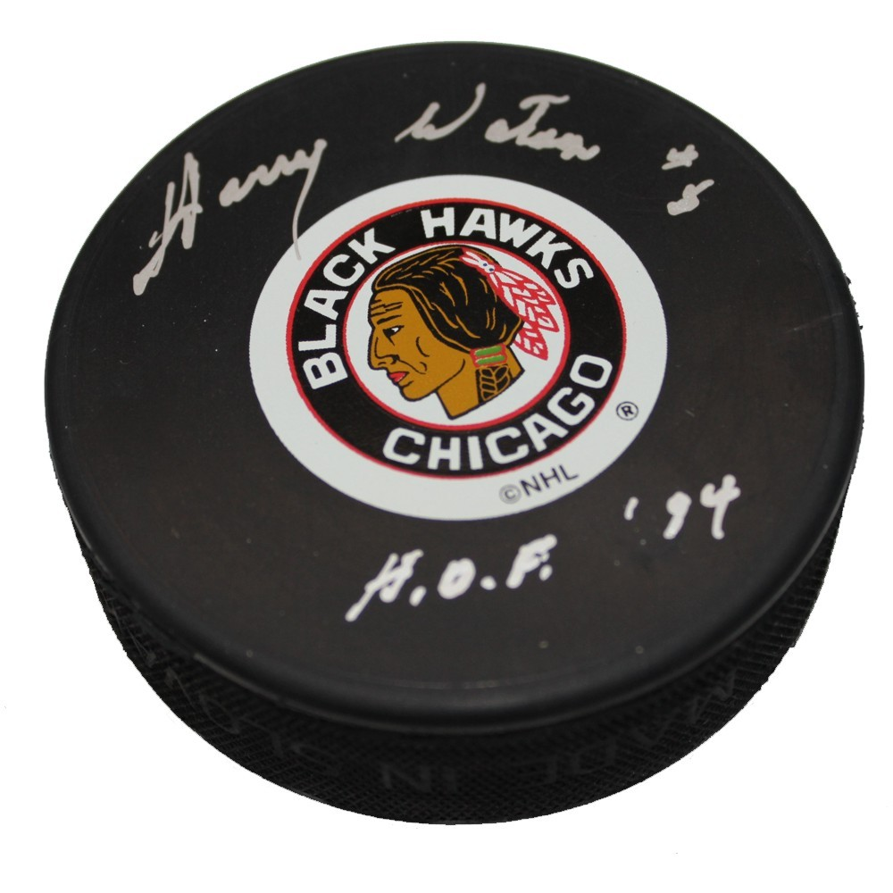 Harry Watson (deceased) Autographed Chicago Blackhawks Puck