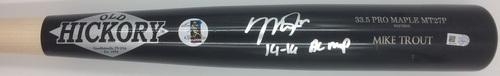 "Photo of Mike Trout Autographed ""14-16 AL MVP"" Old Hickory Game Model Bat"