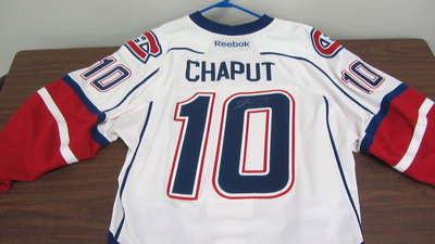 AHL WHITE GAME ISSUED STEPHANE CHAPUT JERSEY SIGNED