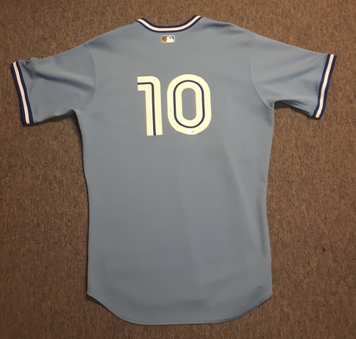 Photo of Authenticated Game Used Jersey - #10 Vernon Wells (April 21, 2010). Wells went 0-for-4. Size 48.