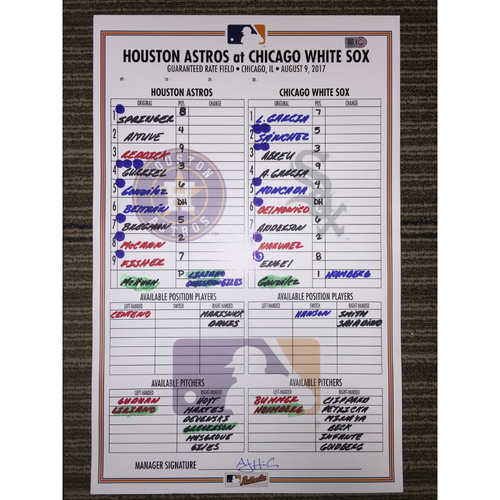 Photo of Game-Used Lineup Card: Astros at White Sox (08/09/17)