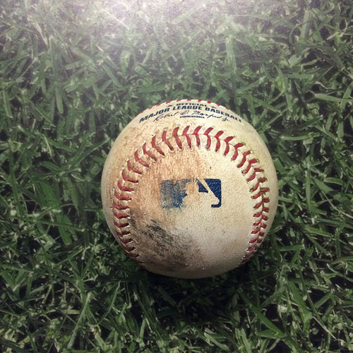 Photo of Game-Used Baseball 04/04/17 COL@MIL - Zach Davies to Carlos Gonzalez: Double