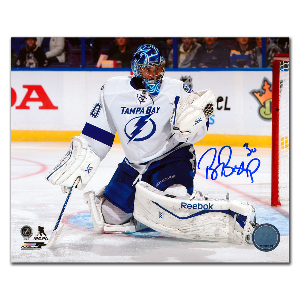 Ben Bishop Tampa Bay Lightning GLOVE SAVE Autographed 8x10