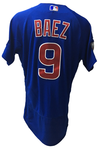 Photo of Javier Baez Game-Used Jersey -- Baez 2 for 6 -- 2016 World Champion Season -- NLDS Game 3 -- Cubs vs Giants -- 10/10/16