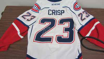 AHL WHITE GAME ISSUED CONNOR CRISP JERSEY SIGNED