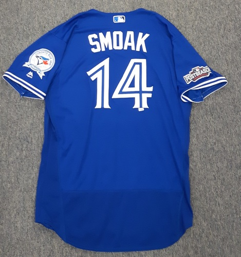 Photo of Authenticated Game Used 2016 Postseason Jersey - #14 Justin Smoak (Wild Card Game and ALDS Game 3). Smoak went 0-for-1 in the Wild Card Game