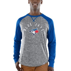 Toronto Blue Jays Special Move Raglan Longsleeve T-Shirt Grey/Royal by Majestic