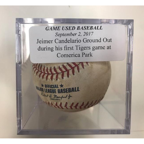 Photo of Game-Used Baseball: Jeimer Candelario Ground Out During His 1st Tigers Game at Comerica Park
