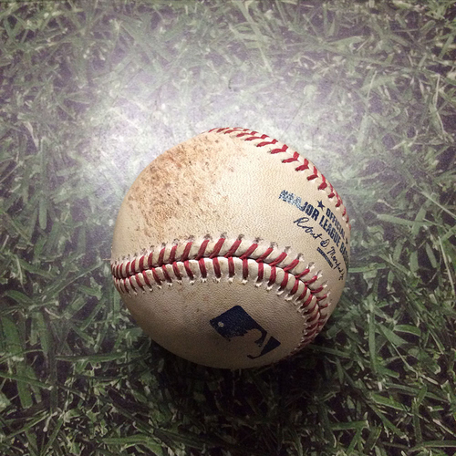 Photo of Game-Used Baseball CHC@MIL 04/07/17 - Jimmy Nelson to Addison Russell: Foul Ball