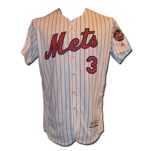 Photo of Curtis Granderson #3 - Game Used Stars and Stripes Jersey - Granderson Hits Home Run #15 - Mets vs. Marlins - 7/4/16