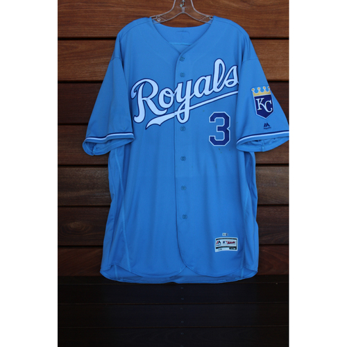 Game-Used Ned Yost Powder Blue Jersey (Size 50 - TEX at KC - 7/16/17)