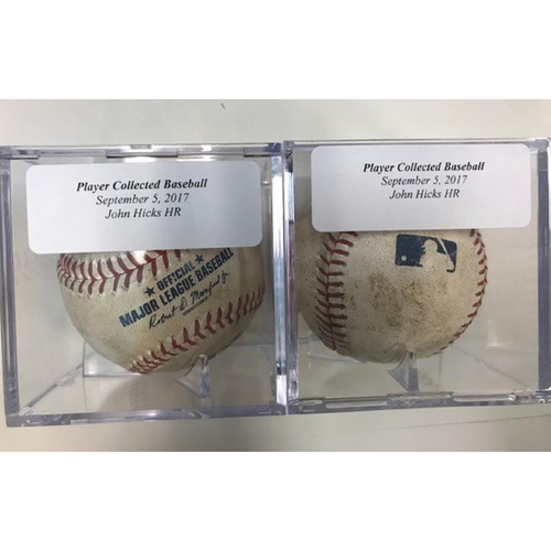 Photo of Two Player Collected Baseballs: John Hicks' Home Runs