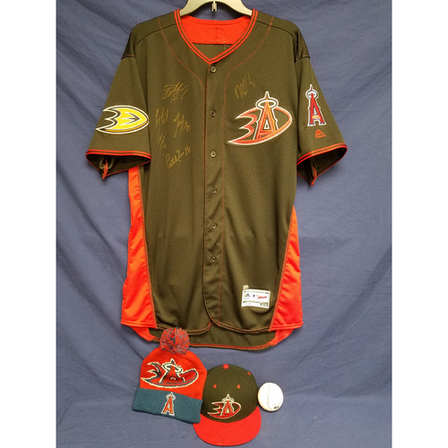 Photo of Anaheim Ducks Los Angeles Angels Charity Auction: Duck Signed Batting Practice Jersey, Game-Used Jesse Chavez Batting Practice Cap, Signed Ball and Ducks Angels Beanie