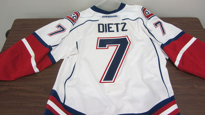 AHL WHITE GAME ISSUED DARREN DIETZ JERSEY SIGNED (1 OF 2)