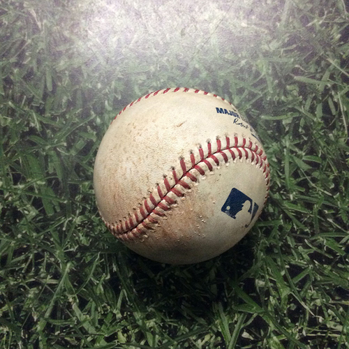 Photo of Game-Used Baseball 05/10/17 BOS@MIL - Fernando Abad to Eric Thames: Single
