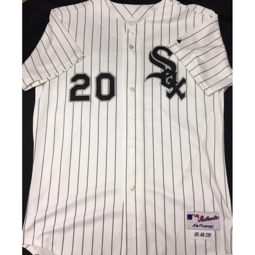 Photo of Jon Garland 2005 Team-Issued White Pinstripe Jersey - Size 48