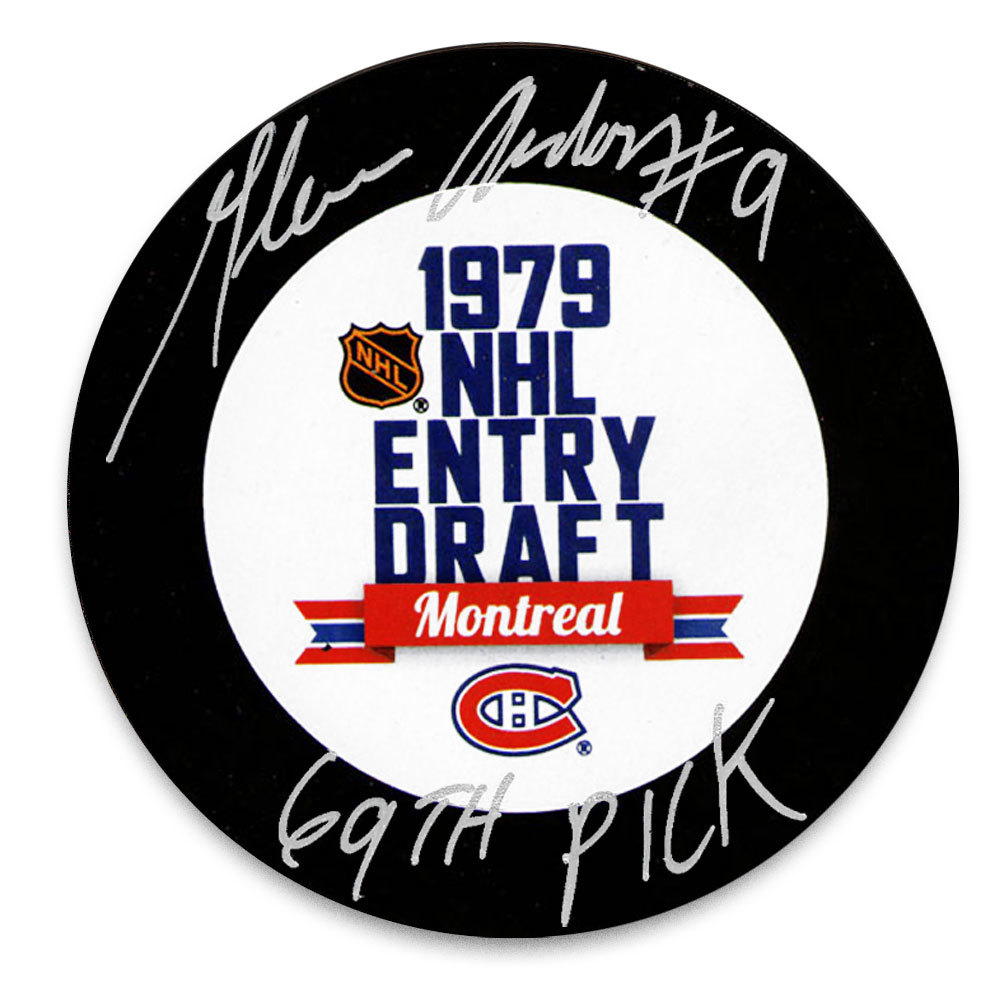Glenn Anderson 1979 NHL Draft Day 69th Pick Autographed Puck Edmonton Oilers