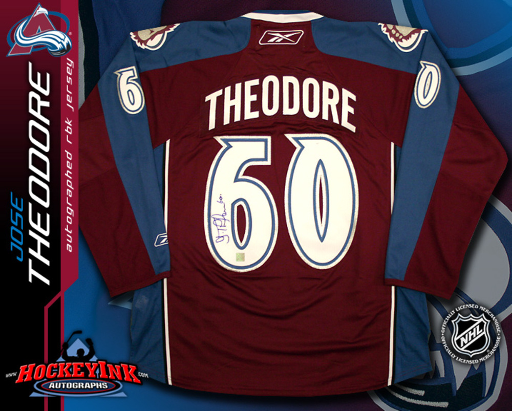 JOSE THEODORE Signed RBK Premier Burgundy Colordao Avalanche Jersey