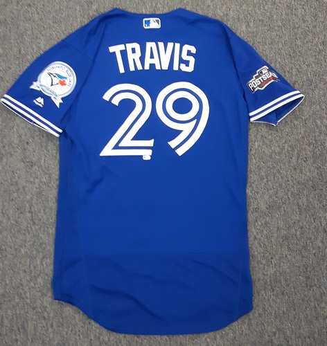 Photo of Authenticated Game Used 2016 Postseason Jersey - #29 Devon Travis (Wild Card Game). Travis went 1-for-5 with 1 Run.