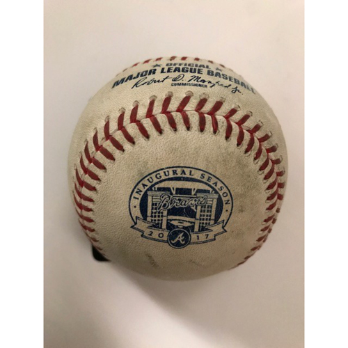 Lucas Sims Pitched Game-Used Baseball from His MLB Debut - Also Ozzie Albies MLB Debut - August 1, 2017
