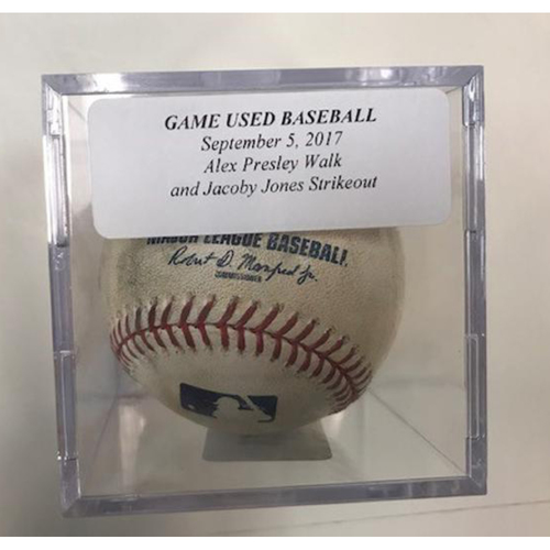 Photo of Game-Used Baseball: Alex Presley Walk & JaCoby Jones Strikeout