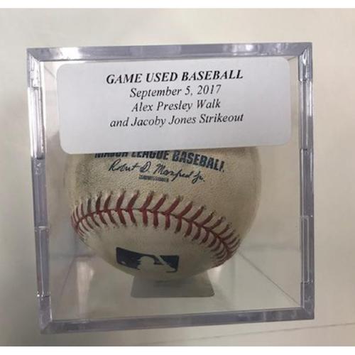 Photo of Game-Used Baseball: Alex Presley Walk & JaCoby Jones Strikeout
